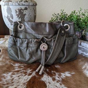 B. Makowsky Distressed Leather Hobo Shoulder Bag